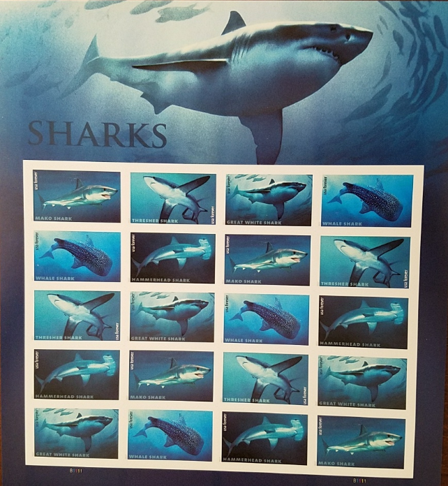 Primary image for New! SHARKS 2016 (USPS) STAMP SHEET 20 FOREVER STAMPS