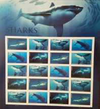 New! SHARKS 2016 (USPS) STAMP SHEET 20 FOREVER STAMPS - $14.95