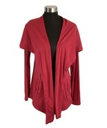 Michael Stars Cardigan Sweater One Size Red Supima Cotton Oversize Colla... - $49.49