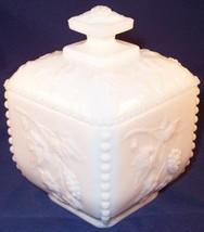 Vintage Westmoreland White Milk Glass Square Puff Box w/ Lid, Grapes Beaded Edge - $16.99
