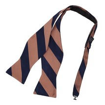 DBA7A03H Brown Navy Stripes Bow Tie Microfiber Romance For Marriage Hand... - $19.11