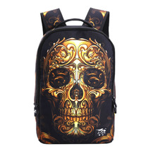 Creative personality student waterproof gold skull head pattern shoulder... - $26.00