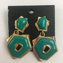 Vintage Enamel Dangle Earrings Green Turquoise Color Gold Tone NOS 80s 90s - $12.58