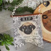 PERSONALIZED RIP Funeral Cemetery Mortuary Burial CANVAS BURLAP FLAG BAN... - $19.99+