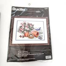 Bucilla Flower Pot Bird Eggs Crewel Perched and Pretty 14 x 10 Sealed Vintage 97 - $38.95