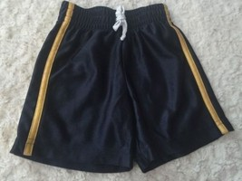 Jumping Beans Boys Navy Blue Yellow Stripe Athletic Shorts Elastic 18 Mo... - $4.00