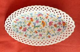 "Piereced Edge Serving Bowl, Hand Painted, Folk Art Design, Germany, 10"" ... - $18.97"