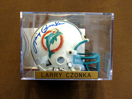 LARRY CSONKA SBC PERFECT MIAMI DOLPHINS HOF SIGNED AUTO MINI HELMET & CA... - $247.49