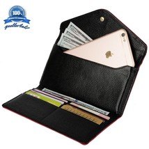 Women's Dual-Tone Leather Envelope Style Tri-Fold Smartphone Wallet Rose... - $22.89