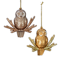 KURT S. ADLER SET OF 2 GLITTERED OWLS ON BRANCH CHRISTMAS TREE ORNAMENT - $12.88