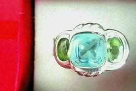 Judith Ripka 925 Silver Blue Topaz and Peridot Three Stone Ring Size 6 R... - $89.95