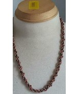 """23""""VINTAGE ARTISAN PINK GLASS SEED BEAD TWISTED ROPE NECKLACE,PINKS BROW... - $9.89"""