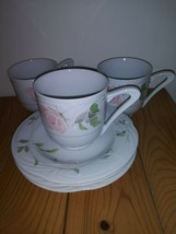 Retired SANGO Sculpture Rose Fine China 3 Cups And Saucers 1051 Made in ... - $21.37