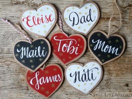 Hand Lettered Gift Tags. Wooden Heart. Memory Tag. Christmas Wooden Orna... - $10.00