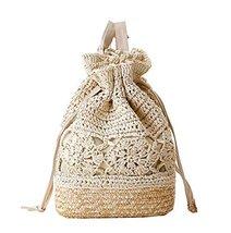 Fashion Vacation Item/Crochet Flower Straw Backpack/ Beach Bag/Beige