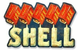 Shell Motor Spirit Liquid Text Oil Gasoline Metal Sign - $39.95