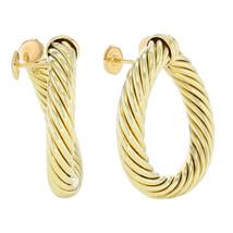 David Yurman 18K Yellow Gold Classic Cable Women's Hoop Earrings - $2,950.00
