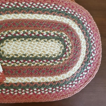 BRAIDED PLACEMATS, set of 5, 13x18 Autumn Red Green Oval, Cotton image 3