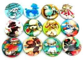 "12 Vintage POODLE Dog Images 1"" Buttons Pinbacks Pins One Inch Retro Pup... - $7.99"