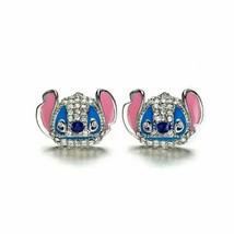 Girls Ladies Disney Parks Jewelry Stitch CZ 925 Silver Plated Earrings Stud Set - $9.89