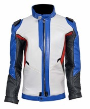 Overwatch Game Soldier 76 Biker Synthetic Leather Jacket image 2