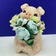 Stone Critters pig white figurine 1989 udc wedding flower bouquet sculpt... - $19.60