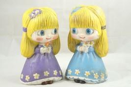"Vintage 1974 Creepy Cute 7"" Girls Ceramic Figurines Signed AM - $38.22"