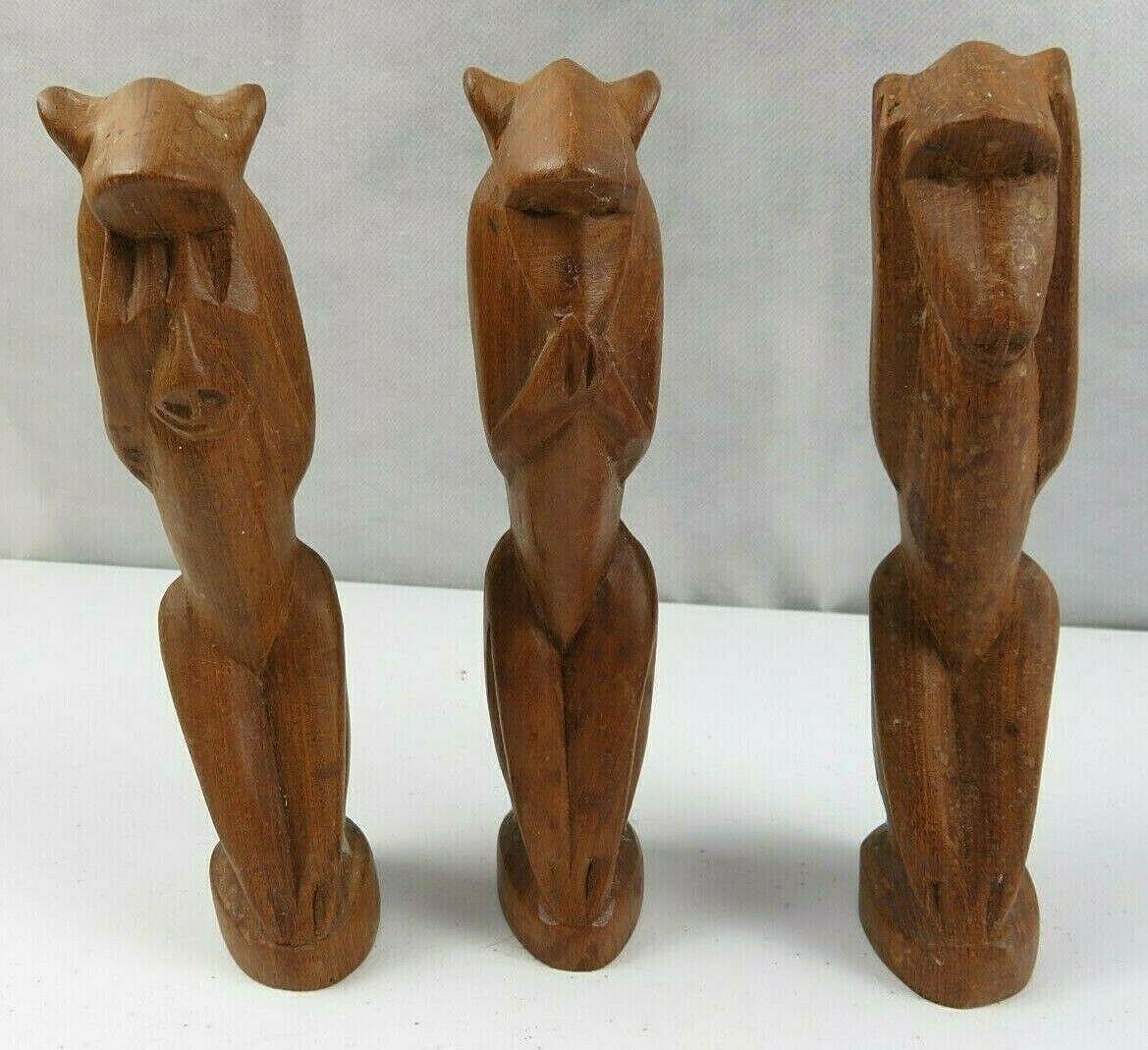 Lot of 3 Vintage African Wood Hand Carved Monkeys Figure See Hear Speak No Evil