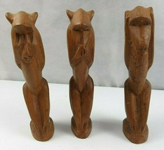 Lot of 3 Vintage African Wood Hand Carved Monkeys Figure See Hear Speak ... - $30.00