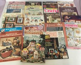 22 mixed craft book magazine booklet lot needlepoint cross stitch mosaic... - $19.75
