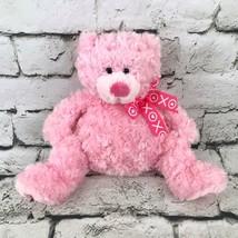 Ganz Hugs & Kisses Teddy Bear Plush Pink Curly Soft Fur Sitting Stuffed ... - $14.84