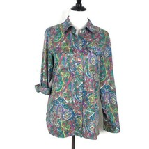Tommy Hilfiger Top Paisley Floral Pattern Roll Tab Sleeve Blouse Women S... - $14.92