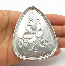 TOWLE 925 Silver - Vintage Floral Bird Detailed Large Shiny Pendant - P8660 - £71.19 GBP