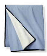"Levi's x Target Striped Sherpa Backing Throw Blanket 50"" x60"" Denim Blue... - $32.99"