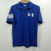 Under Armour Mens Polo Shirt Medium M Regular Fit Blue White Solid Short Sleeve - $23.83
