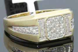 Yellow Gold Over Mens Round Diamond Wedding Engagement Pinky Ring Band 2... - $148.79