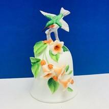 Otagiri hummingbird bell Japan orange lily flower floral figurine hummin... - $33.69