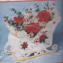 Bucilla Christmas Rose Sleigh Plastic Canvas Kit Candy/Centerpiece 61141 - $27.95