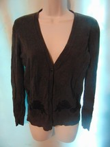 Ann Taylor Loft Women's Gray Thin Knit Cotton Cardigan Sweater S - $13.86