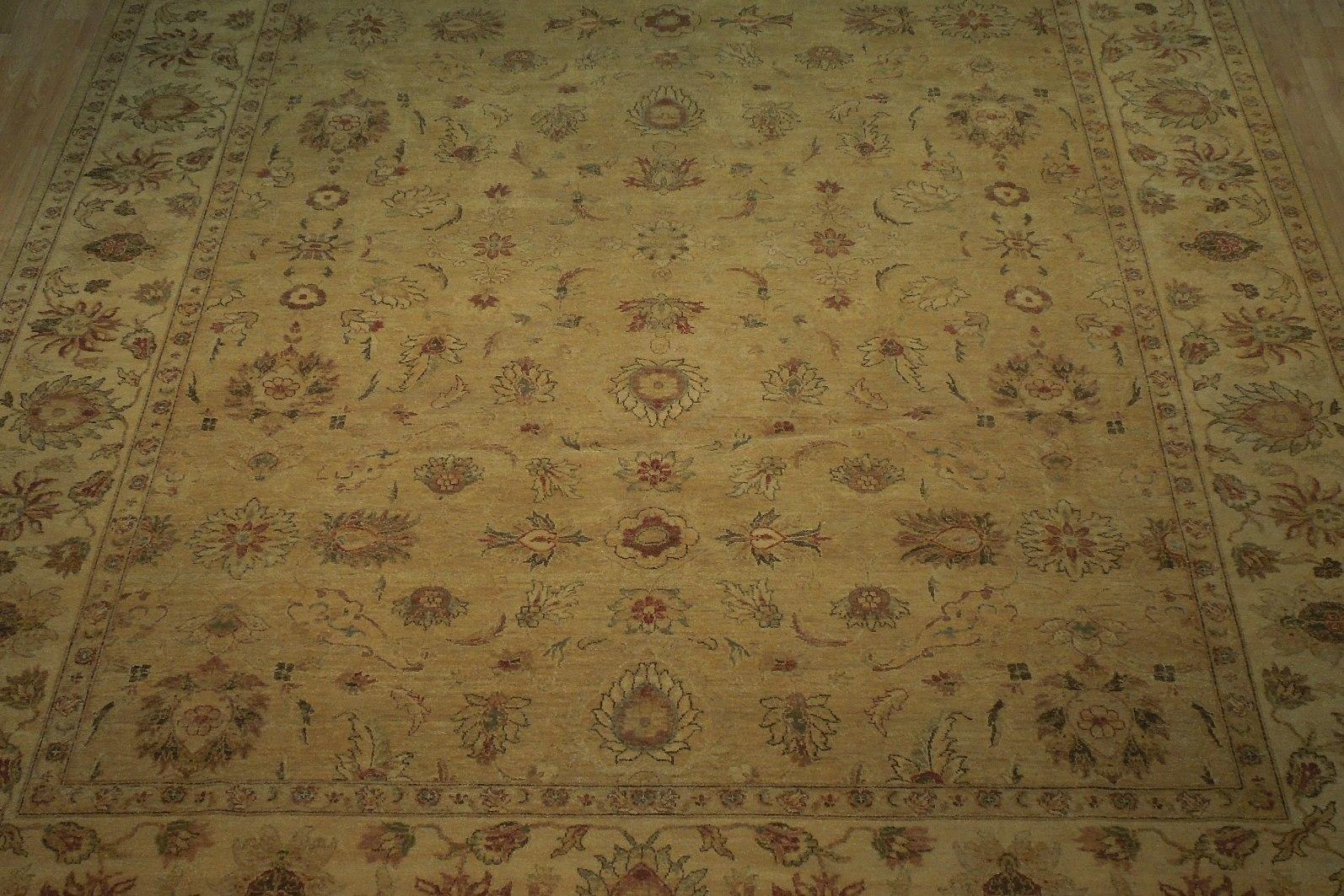 Honey Gold Wool Carpet 9' x 12' New Original Ziglar Oushak Hand-Knotted Rug image 12
