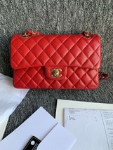 AUTH BNWT CHANEL 2019 RED CAVIAR QUILTED MEDIUM DOUBLE FLAP BAG GHW RECEIPT