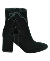 Brand New Women's Hot Kiss Gila Block Heel Cut Out Side Laced Boots Black US 6.5 image 1