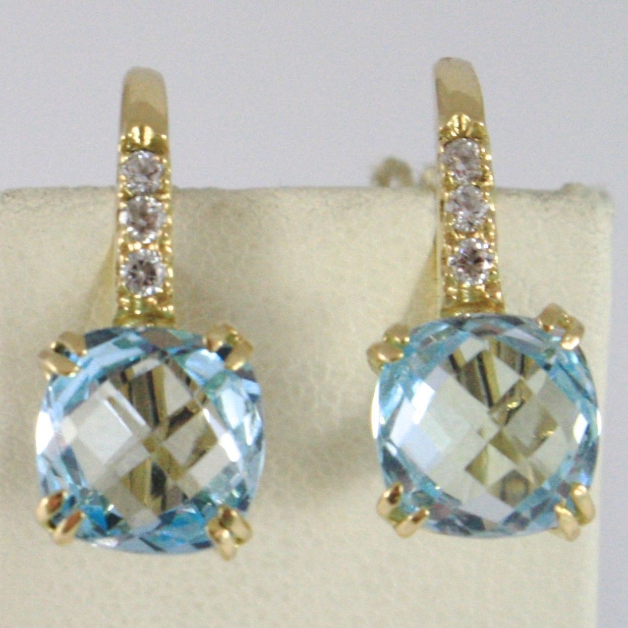 SOLID 18K YELLOW GOLD PENDANT LEVERBACK EARRINGS WITH BLUE TOPAZ AND ZIRCONIA