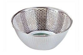 "Kitchen Flower Stainless Steel Embossing Rice Washing Bowl Basket Basin (10.2"")"