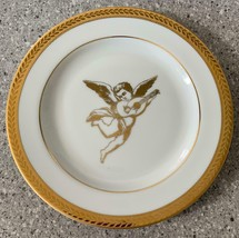 Vintage Collectible Guardian Angel Cherub w/ Mandolin Gold Leaf Rim Indo... - $4.69