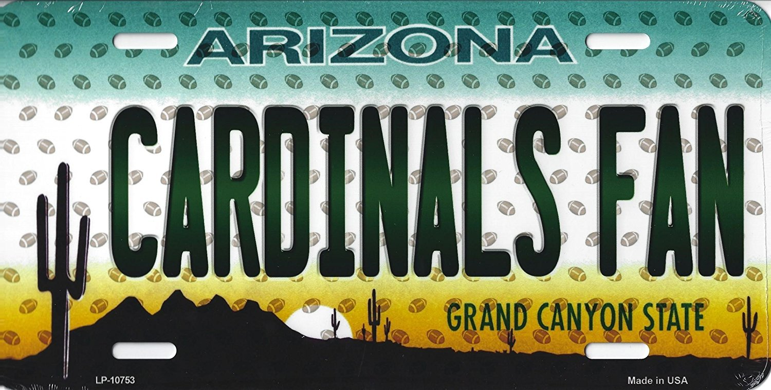 Cardinals Arizona State State Background Metal License Plate (Cardinals Fan)