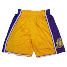 Men's Los Angeles Lakers Athletic yellow Basketball Shorts NWT Stitched - $28.66