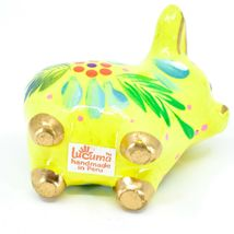 Handcrafted Painted Ceramic Yellow Pig Confetti Ornament Made in Peru image 5
