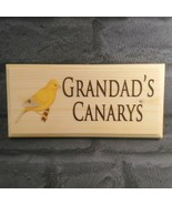 Personalised Canary Sign, Custom Aviary Plaque Grandads Bird Shed Wooden... - $17.47