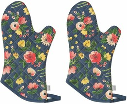Nice Oven Mitt Set Pair 2 Floral Navy Oven Mitts Potholders Quilted Cott... - $39.00